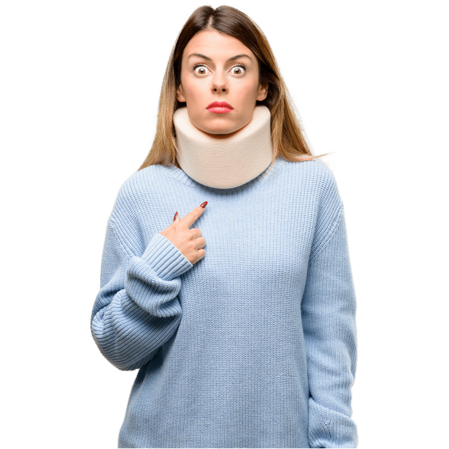 Woman wearing Cervical Collar